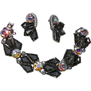 Delizza and Elster Grey Kite Shaped Lalique Table Stone Bracelet and Earrings Set