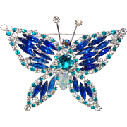 Juliana Multi Colored Rhinestone Figural Butterfly Brooch