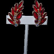 Juliana Earrings in Blood Red Rhinestones