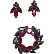 Vintage Brooch Set with Fuchsia and Aurora Borealis Navettes