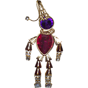 Vintage Scarecrow Brooch In Colors of Purple, Magenta and Clear Rhinestones