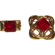 Vintage Belt/Sash Buckles with right Cherry Red Stones