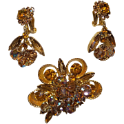Juliana DeLizza  & Elster Rhinestone Cup Bead Brooch with Earrings