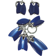 Vintage Signed Lisner Thermoset Demi Parure in Royal Blue