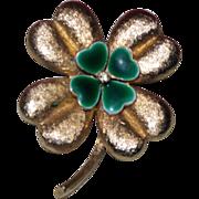 SALE Vintage Signed Signed MYLU Enamel Four Leaf Clover Brooch