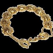 Vintage Gold Tone Egyptian Revival Scarab Bracelet