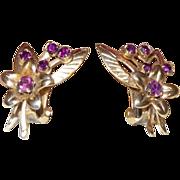 Vintage Faux Amethyst Flower Earrings