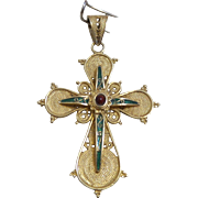 Vintage 18kt Yellow Gold Cross with Ruby Center