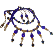 Hand Strung Cobalt Glass Necklace with Aurora Borealis Crystals and Earrings