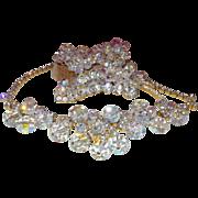 SALE Vintage D&E Juliana Aurora Borealis Crystal Parure With Dangles