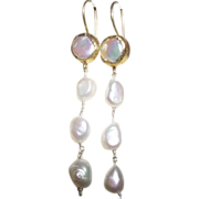 SALE Hand Strung Cultured Coin Pearls and Dangling Cultures Baroque Pearls Earrings
