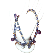 Natural Iolite and Citrine Necklace with Silver Tone Clasp