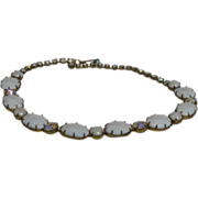 Signed Regency White Milk Glass Necklace With Large Aurora Borealis Crystals