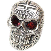 Signed Silver Skull Ring with Garnet Eyes