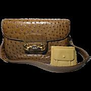 Authentic Gucci Vintage Light Brown Exotic Ostrich Shoulder Bag