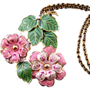 REDUCED Enameled 1930s Pendant Necklace - Pink Flowers and Green Leaves