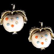 Cheeky 'Forbidden Fruit' Rhinestone Apple Earrings - in White, with Goldtone Leaves
