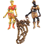 REDUCED Roman Double Chain Chatelaine - Goldtone and Blackamoor Figurals