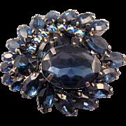 REDUCED Silvertone Rhinestone Cluster Brooch in Montana Blue