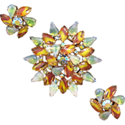 REDUCED Outstanding Givre Rhinestone Green and Brown Starburst Rhinestone Pin and Earring Set