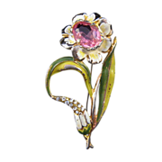 REDUCED 'Shabby Chic' Flower Pin with Pink Rhinestone Center