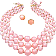 REDUCED Pink Moonglow Lucite Triple Strand Necklace with Clip Earrings