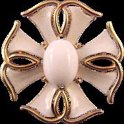 Trifari 1960s White Goldtone and Enamel Maltese Cross Brooch