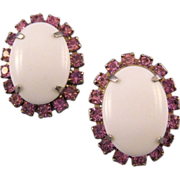 REDUCED Oval Milk Glass Cabochon Earrings with Pink Rhinestones