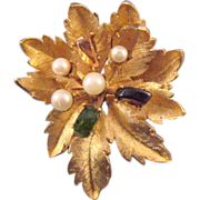 REDUCED Francois Textured Goldtone Flower Brooch Set with Mineral Chips and Faux Pearls