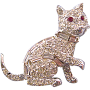 REDUCED Rhinestone Encrusted Pell Kitty Cat Figural Brooch with Red Rhinestone Eyes