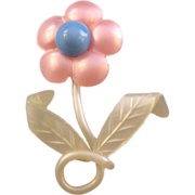REDUCED Pink Blue and White Moonglow Flower Brooch