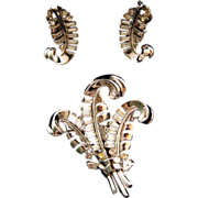 REDUCED 1949 Trifari Baguette Triple Fern Brooch and Earrings - Design Patent