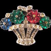 REDUCED Trifari 'KTF' Pave' Fruit Basket Dress Clip with Three Color 'Fruit Salad' Flowers