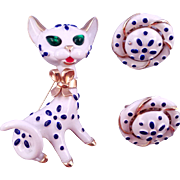 1967 'Trifari Pets' White and Blue Kitty Cat Pin and Earrings - Ad Reference