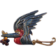 REDUCED Flying Stork Brooch with Beaded Bundle