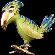 REDUCED Tortolani Green Enameled Parrot Brooch
