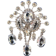 REDUCED Vendome Large Clear Rhinestone Dangle Brooch with Large Oval Stones