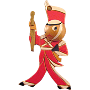 REDUCED Carved Wooden Drum Major Figural Pin