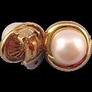 REDUCED Ciner Faux Pearl Earrings in a Goldtone Swirl Setting