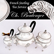 SALE Boulenger: Antique Empire Style French Sterling Silver 3pc Tea Service Set