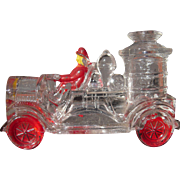 Early 1900s Painted Glass Candy Container of Fire Engine
