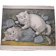 Currier & Ives Hand Colored Lithograph Two Little Fraid Cats