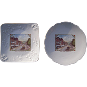 Pair Vintage Souvenir China Plates of Bradford, PA