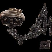 1881 Ornate Bradley Hubbard Oil Lamp Bracket and Font