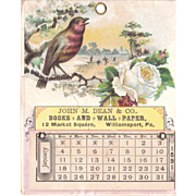 1891 Advertising Calendar from Williamsport, PA