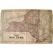 Large 1860s Hand Colored Map Of New York