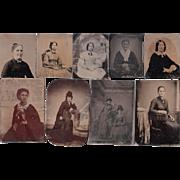 Lot of 12 Tintypes of Women