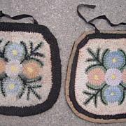 Pair 1920s/1930s Hand Hooked Seat Covers