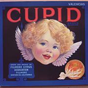 c1920s/1930s Cupid Orange Crate Label