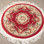Vintage 3' Round Hand Woven Chinese Rug